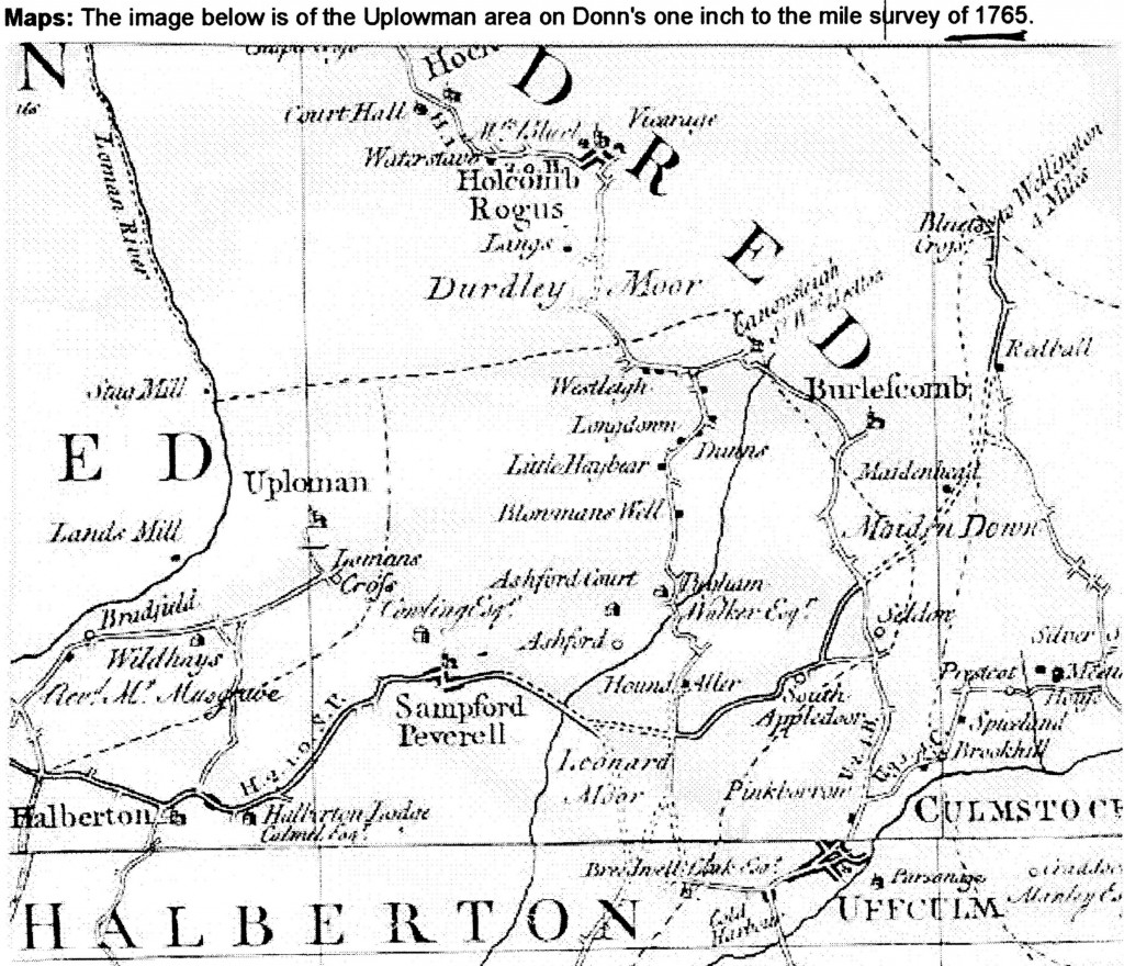 1765 map showing Uplowman