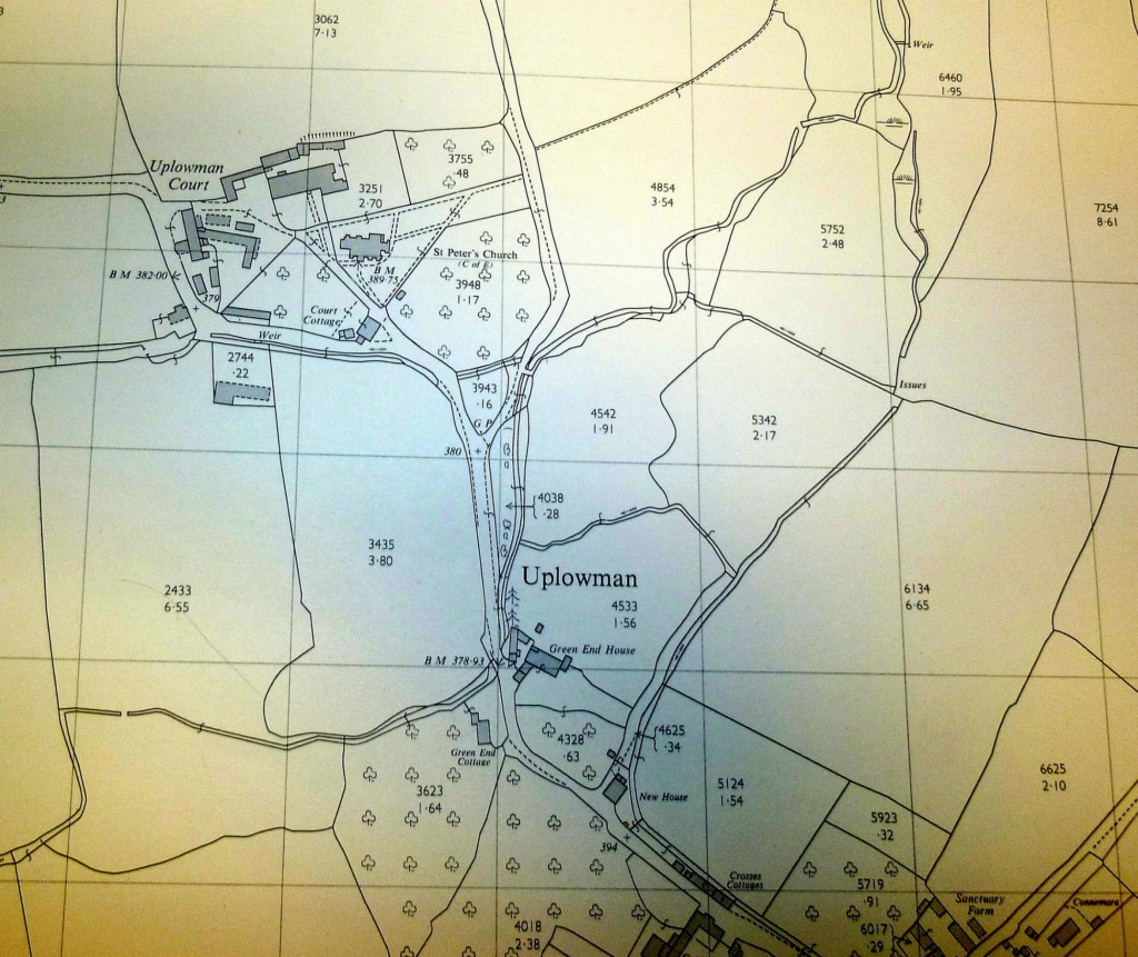 1970 map of Uplowman centre